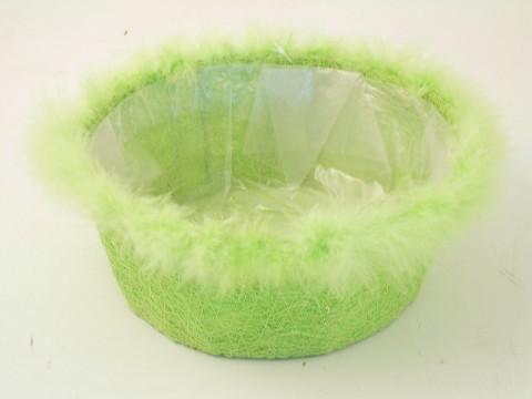 Ciotola verde con piume