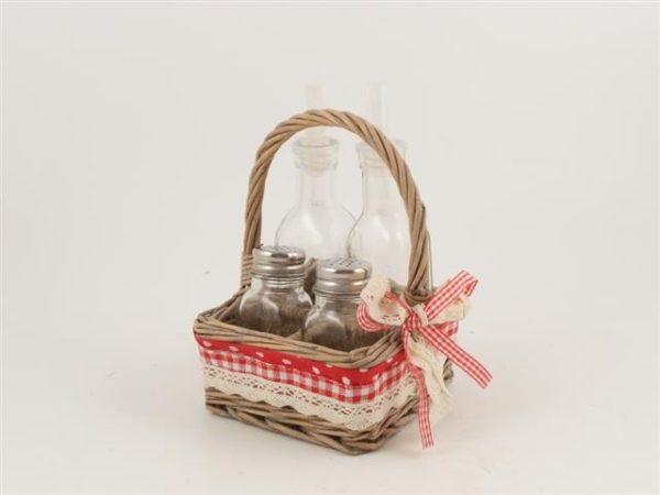 Oliera 4 posti con cestino in vimini e fiocco