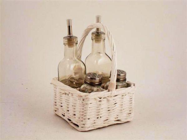 Oliera 4 contenitori vimini bianco