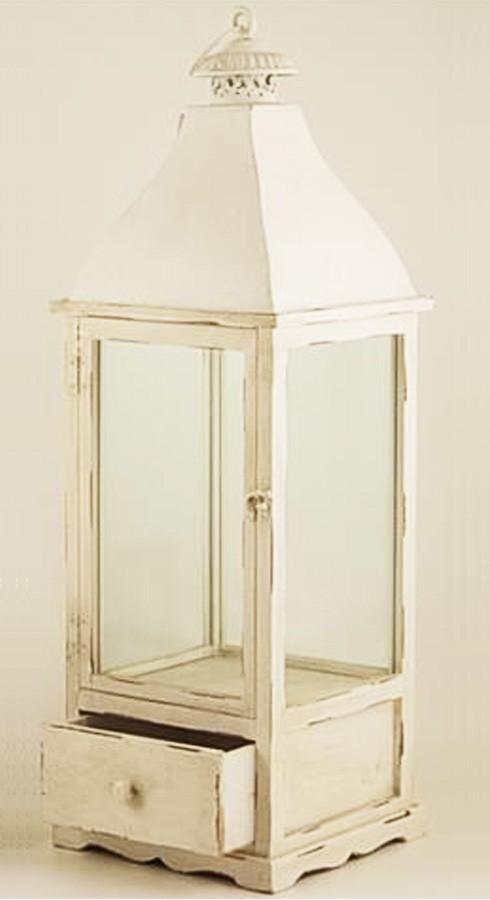 Lanterna quadra legno bianco con cassetto