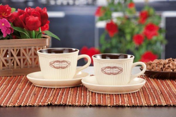 Servito da cappuccino in ceramica 2 Tazze