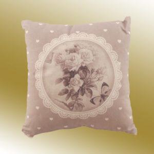 Cuscino quadrato con tessuto a fiori