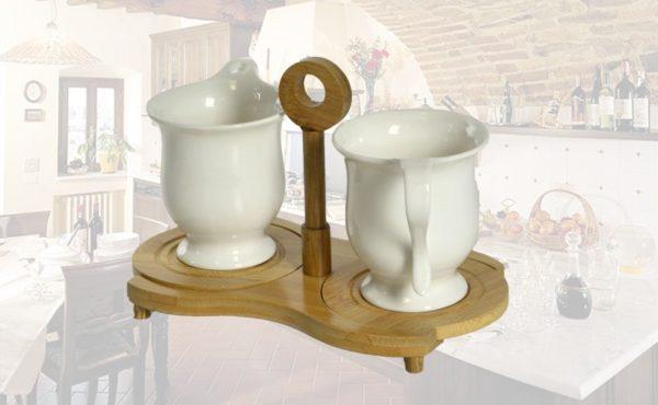 2 Tazze con cuoricino porcellana bianca su base bambu