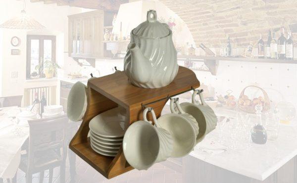 Set teiera con 6 tazze e piattino rigato ceramica bianca e base in bambu