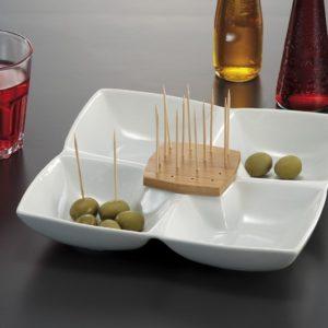 Antipastiera porcellana con portastuzzicadenti in bamboo