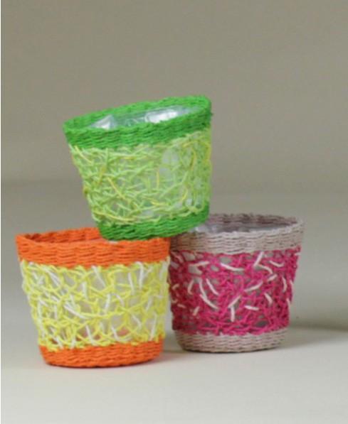 Portavaso tessuto corda 3 colori traforato