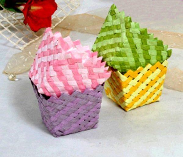 Porta vaso tessuto color con rombi intrecciato