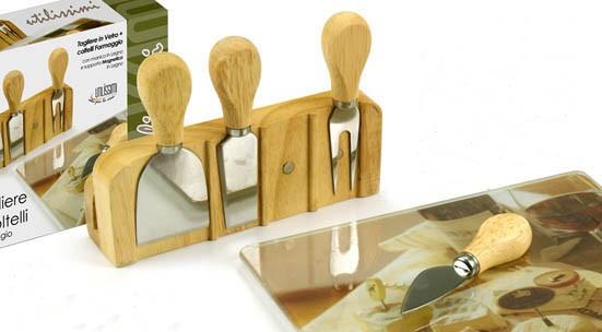 Tagliere con accessori per formaggio