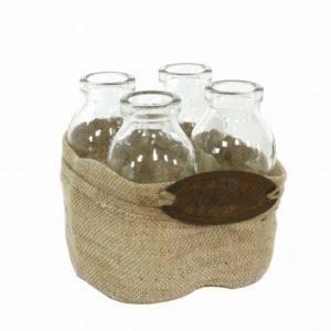 Set 3 bottiglie con cestino tela
