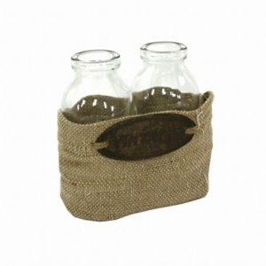 Set 2 bottiglie con cestino tela