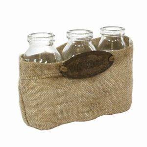 Set 3 bottiglie vetro con cestino tela yuta