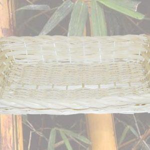 Cesta sbiancata rettangolare con treccia