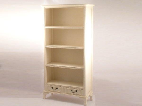 Libreria 4 piani + 2 cassetti in legno bianco