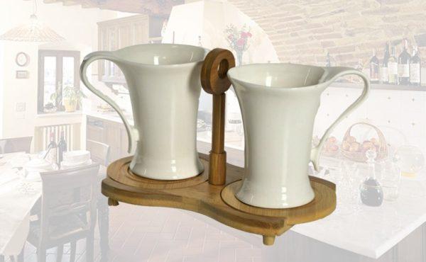 Set 2 tazze maxi porcellana bianca con base bambu