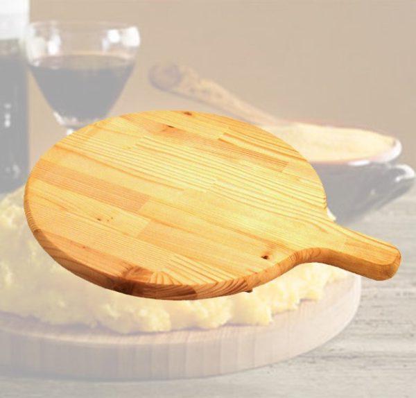 Tagliere rotondo in legno con manico