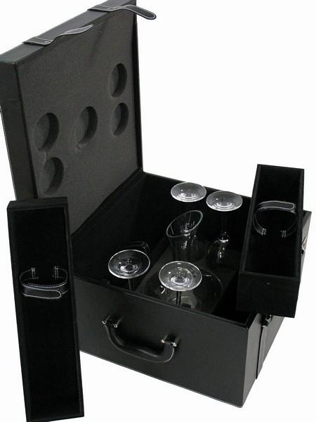 Cassetta portabottiglie similpelle nera con bicchieri e decanter