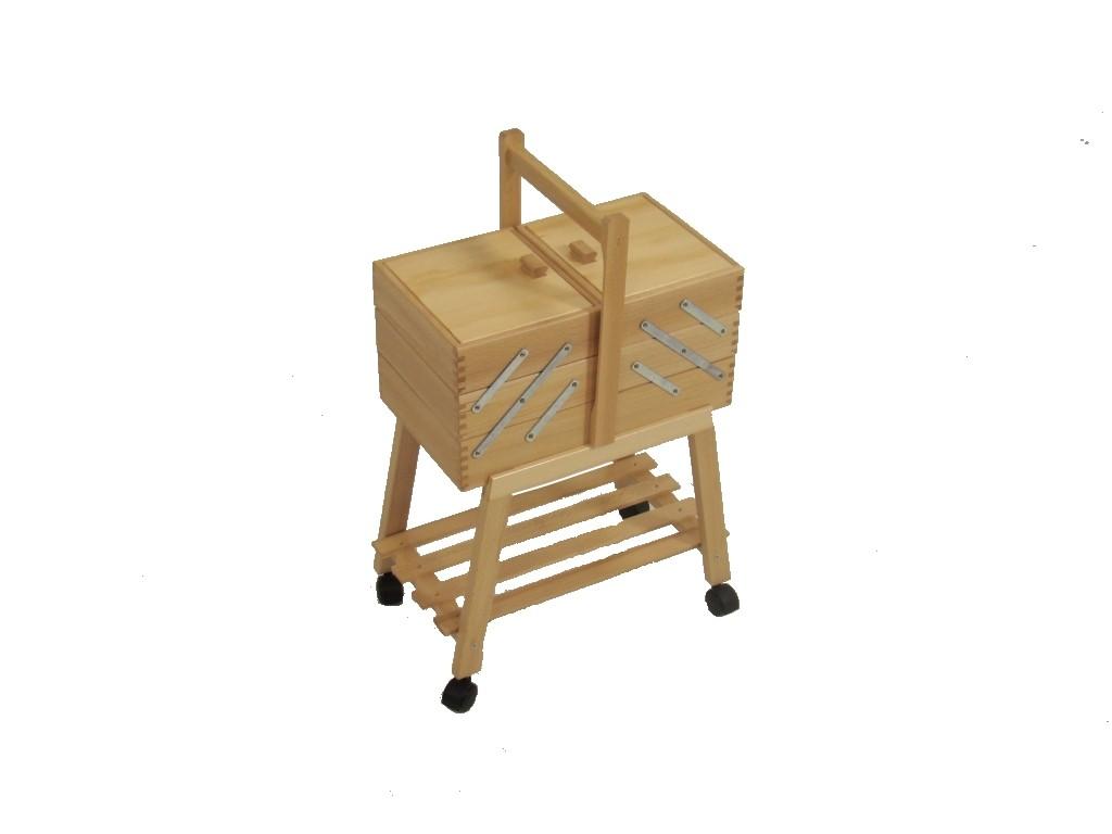 Cestini Da Lavoro Per Cucito portalavoro legno faggio con ruote