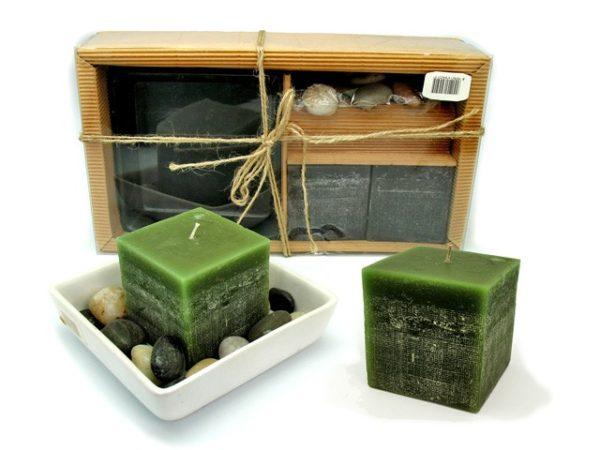 Set 2 Candele japan con ciotola quadra e sassi di fiume
