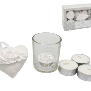 Set t light con porta t-light con cuore in stoffa-in box