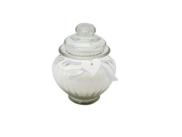 Candela in barattolo vetro con decorazione gessetto