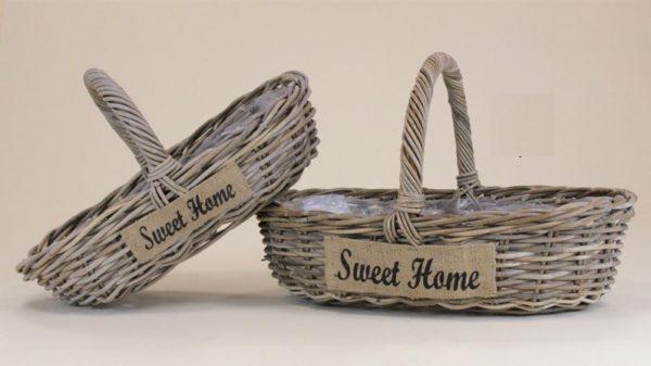 Cesto ovale rattan grigio sweet home