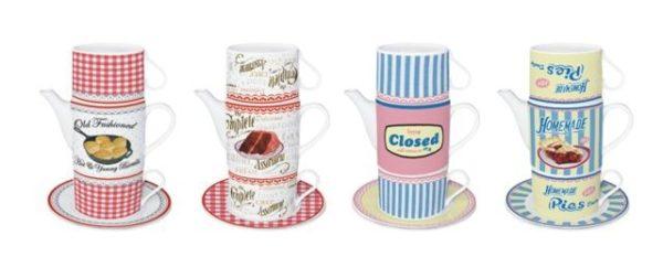 Teiera con 2 tazze impilabili