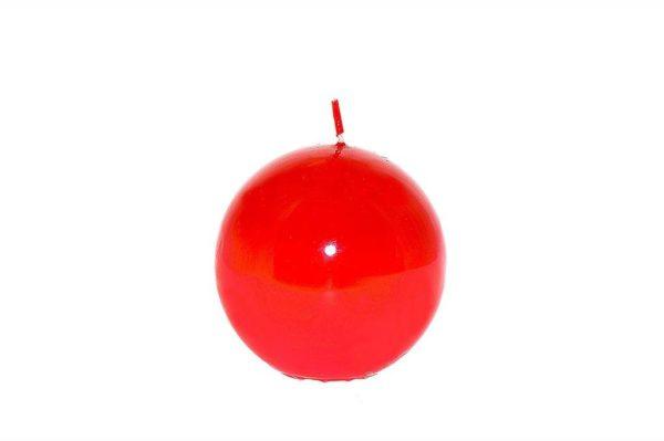 Candela sfera lucida rossa