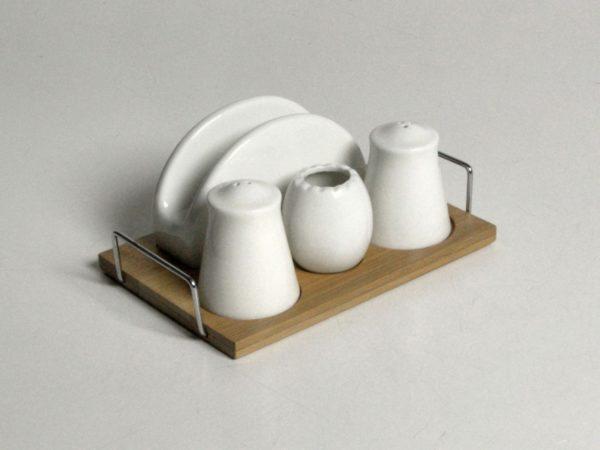 Saliera e pepiera con portatovaglioli ceramica minimal base bambù