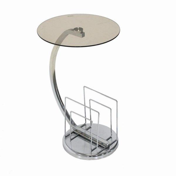 Tavolino vetro tondo struttura in acciaio con portariviste