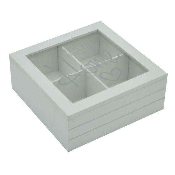 Scatola portathe in legno 4 scomparti bianca linea home