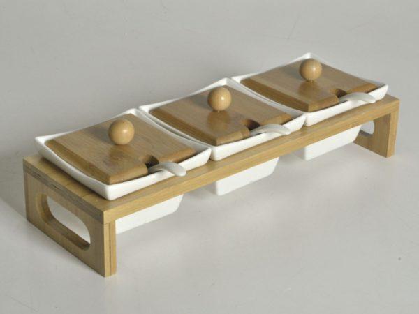 Portasalse 3 posti quadro in porcellana con base bambu