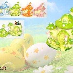 Fungo Cofanetto In Ceramica Con Coniglietti