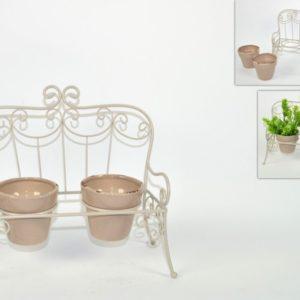 Panchina metallo con 2 vasi