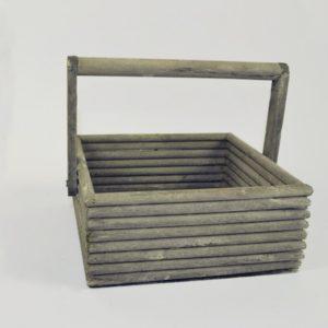 Cestino legno quadrato White-grey