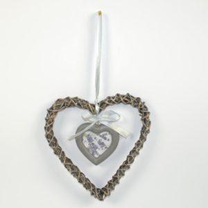 Portafoto cuore legno intrecciato