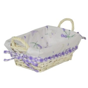 Cestina vimini bianca con fodera lavanda