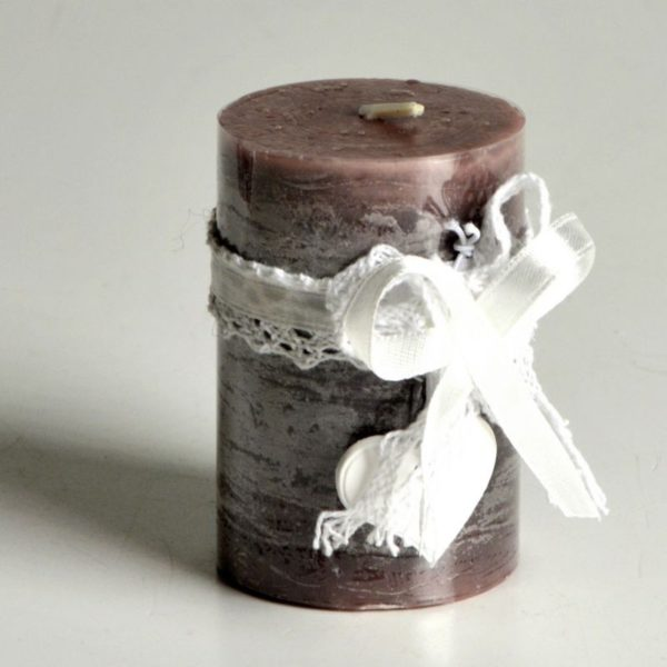 Candela cilindrica con fiocco profumata
