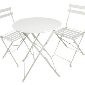 Tavolo in ferro con due sedie pieghevoli