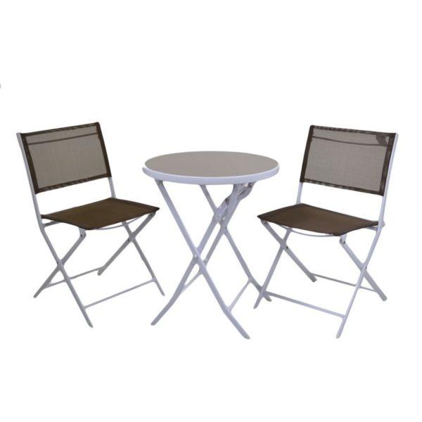 Tavolo metallo tortora con sedie pieghevoli