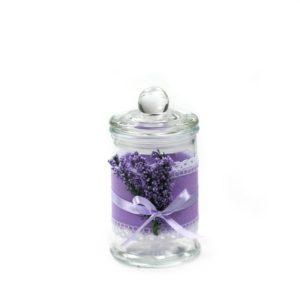 Barattolo in vetro con stoffa lilla e lavanda