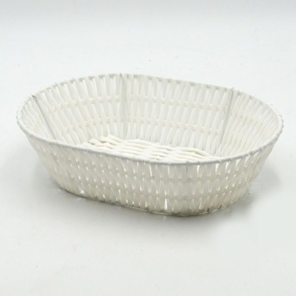 Cestina in polyrattan bianca rettangolare