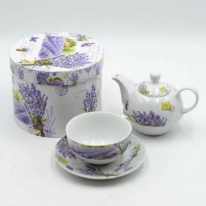 Teiera con tazza thè ceramica decoro lavanda