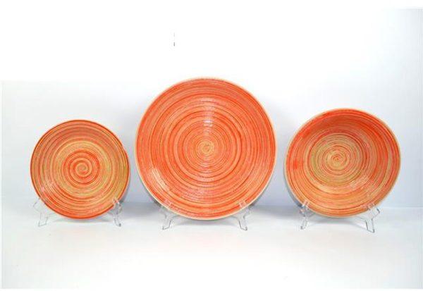 Servito piatti 18 pezzi decoro spirale rotondi