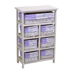 Cassettiera legno con fodera lavanda 1+6 cassetti