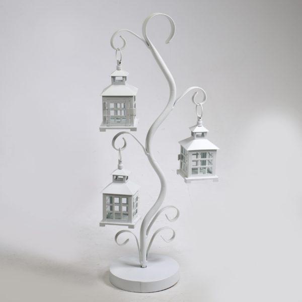 Lanterna in metallo bianco 3 supporti