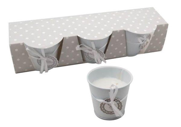 Set 3 candele in lattina