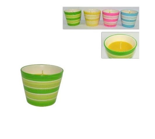 Citronella in vasetto ceramica colorata a righe