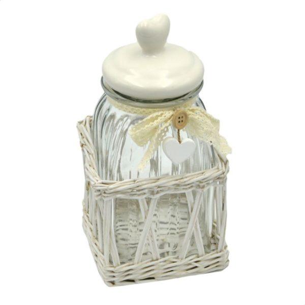 Barattolo in vetro con cesto in vimini