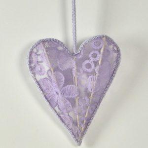 Decorazione cuore stoffa pizzo lilla