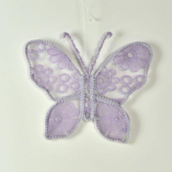 Decorazione farfalla in pizzo lilla